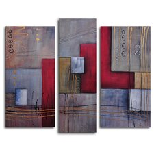 "Hand Painted ""Staff Against Cubes"" 3-Piece Canvas Art Set"
