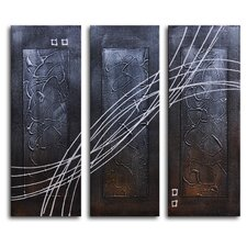 "Hand Painted ""Strings Across Panels"" 3-Piece Canvas Art Set"