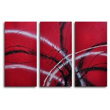 Guitar Hear Oh 3 Piece Original Painting on Canvas Set