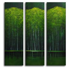 "<strong>My Art Outlet</strong> Hand Painted ""Aspens on Evening Lake"" 3-Piece Canvas Art Set"