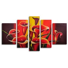 "<strong>My Art Outlet</strong> Hand Painted ""Mexican Fiesta!"" 5-Piece Canvas Art Set"