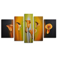 "Hand Painted ""Lilies By Evening Light"" 5-Piece Canvas Art Set"