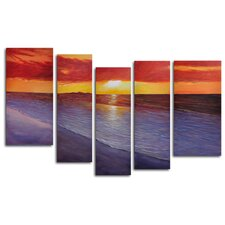 "Hand Painted ""Twilight Shore"" 5-Piece Canvas Art Set"
