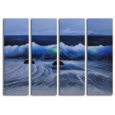 Phosphorescent Moon 4 Piece Original Painting on Canvas Set