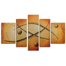 "Hand Painted ""Orbs Jump Rope"" 5-Piece Canvas Art Set"