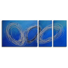 "Hand Painted ""Coils of Wire"" 3-Piece Canvas Art Set"