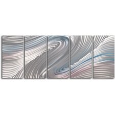 """Pink and White Taffy Panels"" 5 Piece Contemporary Handmade Metal Wall Art Set"