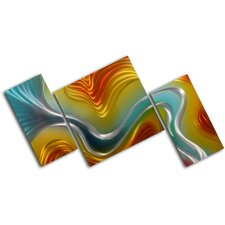 "<strong>My Art Outlet</strong> ""Geometric Colored Ripples"" 3 Piece Contemporary Handmade Metal Wall Art Set"