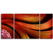 "<strong>My Art Outlet</strong> ""Spun with Satin Scarves"" 3 Piece Contemporary Handmade Metal Wall Art Set"