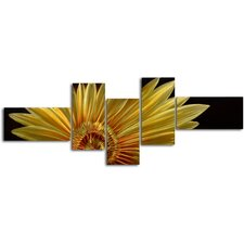 "<strong>My Art Outlet</strong> ""Mostly A Golden Sunflower"" 5 Piece Contemporary Handmade Metal Wall Art Set"