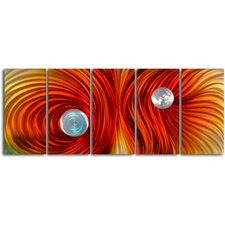 "<strong>My Art Outlet</strong> ""Eyes on Satin Twister"" 5 Piece Contemporary Handmade Metal Wall Art Set"