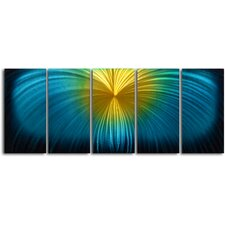 "<strong>My Art Outlet</strong> ""Neon Firework Fallout"" 5 Piece Contemporary Handmade Metal Wall Art Set"