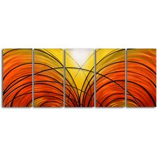 "<strong>My Art Outlet</strong> ""Twin Cornucopia"" 5 Piece Contemporary Handmade Metal Wall Art Set"
