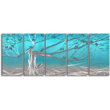 """Metallic Asian Tree"" 5 Piece Contemporary Handmade Metal Wall Art Set"