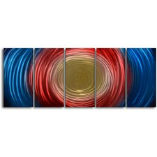 "<strong>My Art Outlet</strong> ""Tunnel For Gold"" 5 Piece Contemporary Handmade Metal Wall Art Set"