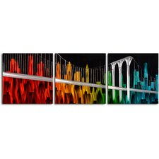 """NY in Prime Colors"" 3 Piece Contemporary Handmade Metal Wall Art Set"