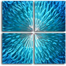"""Shimmering Blue Dahlia Desire"" 4 Piece Contemporary Handmade Metal Wall Art Set"