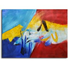 "Hand Painted Modern Oil Painting ""Vibrant Color Collide"" Canvas Wall Art"