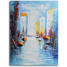 Sail Boats and Silos Original Painting on Canvas