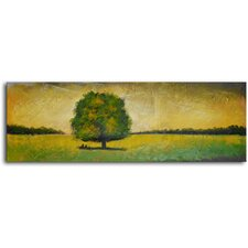"Hand Painted Modern Oil Painting ""Verdant Tree in Green"" Canvas Wall Art"