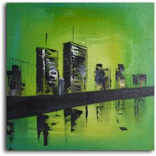"<strong>My Art Outlet</strong> Hand Painted Modern Oil Painting ""Twin Towers"" Canvas Wall Art"