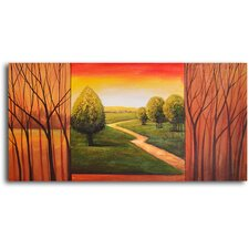 "<strong>My Art Outlet</strong> Hand Painted ""Verdant View in Sticks"" Oil Canvas Art"