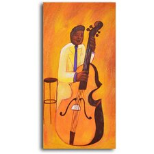"<strong>My Art Outlet</strong> Hand Painted ""Yellow Jacket Cellist"" Oil Canvas Art"
