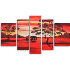 "<strong>My Art Outlet</strong> Hand Painted ""African Sunset"" 5 Piece Oil Canvas Art Set"