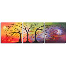 "Hand Painted ""Equilibrium in The Light"" 3 Piece Oil Canvas Art Set"