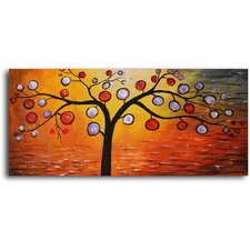 "<strong>My Art Outlet</strong> Hand Painted ""Lolly Pop Tree"" Oil Canvas Art"