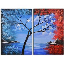 "Hand Painted ""Blue Lagoon Diptych"" 2 Piece Oil Canvas Art Set"
