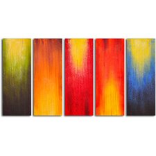 "Hand Painted ""Paintbrush Panels of Color"" 5 Piece Oil Canvas Art Set"