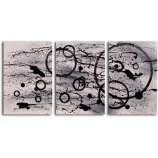 "<strong>My Art Outlet</strong> Hand Painted ""Black on White Expression"" 3 Piece Oil Canvas Art Set"