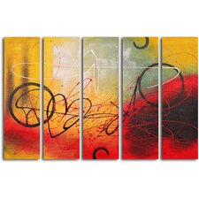 "<strong>My Art Outlet</strong> Hand Painted ""Graffiti on Copper"" 5 Piece Oil Canvas Art Set"