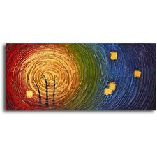 "Hand Painted ""Trees in Concentric Colors"" Oil Canvas Art"