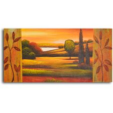 "Hand Painted ""Pasture to Lake"" Oil Canvas Art"