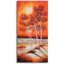 "Hand Painted ""Trio of Moonlit Trees"" Oil Canvas Art"
