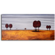"Hand Painted ""Gold with Oval Trees"" Oil Canvas Art"