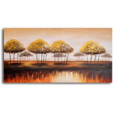 "Hand Painted ""Trees on Melted Earth"" Oil Canvas Art"