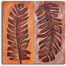"<strong>My Art Outlet</strong> Hand Painted ""Frondship"" Oil Canvas Art"