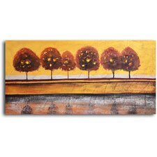 "Hand Painted ""Luminaria Tree Reflection"" Oil Canvas Art"