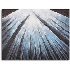 "Hand Painted ""Treetops Bathed in Mist"" Oil Canvas Art"