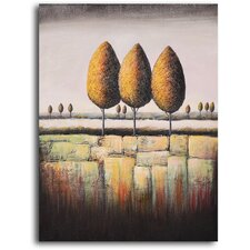 "<strong>My Art Outlet</strong> Hand Painted ""Tree Trio"" Oil Canvas Art"