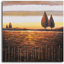 "<strong>My Art Outlet</strong> Hand Painted ""Beyond The Stick Fence"" Oil Canvas Art"