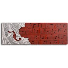 "<strong>My Art Outlet</strong> Handcrafted ""Cello Form on Red Score"" Metal on Hand Painted Canvas"