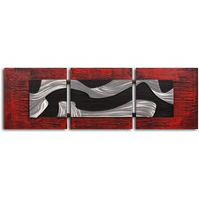 "<strong>My Art Outlet</strong> Handcrafted ""Metallic Black and White"" Metal on Hand Painted Canvas"