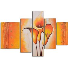 "Hand Painted ""Cobra Lily Dance"" 5-Piece Canvas Art Set"