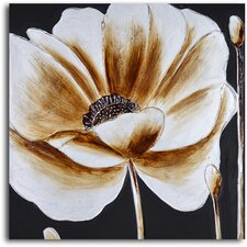 ''Coffee and White Poppy'' Hand Painted Canvas Art