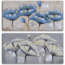 2 Piece ''Blue White Poppy Quartet'' Hand Painted Canvas Set