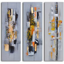 'Amber Chaos Finding Form' 3 Piece Original Painting on Canvas Set